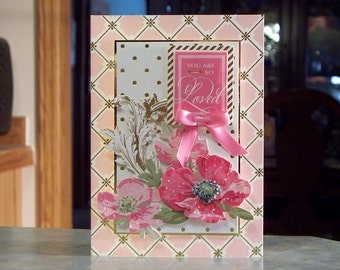 """Handmade Valentines Day Card - 5"""" x 7"""" - Anna Griffin So Smitten - Gold Foil Accents & Flourishes, You Are So Loved"""