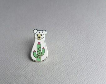 Cactus Bear Pin - Hard Enamel Pin - silver plated