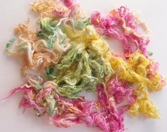 Suri Baby Alpaca hand processed Locks Hand dyed spring colors  - pink, yellow, green shades - for felting, spinning.