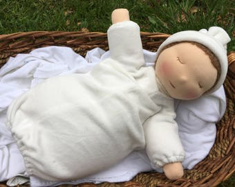 Ready to Go Weighted Waldorf Baby Doll Removable Organic Gown for Easy Laundering 16 Inch Tranquil Tot