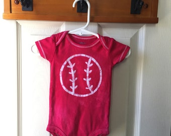Baseball Baby Bodysuit, Red Baseball Baby Shirt, Red Baseball Baby Gift, Baby Baseball Bodysuit, Baseball Baby Shower Gift (6 months)