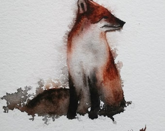 FOX Painting, Animal Art, children's room art, ORIGINAL Red Fox watercolor painting original WATERCOLOR Fox Painting Animal Art