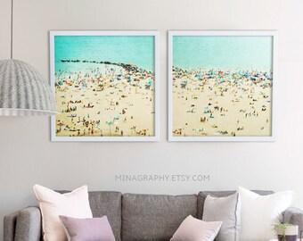 Nautical Print // Blue Green Beige // Large Beach Photography // Beach People // Aquamarine Teal Art Print // Large Beach Print Two Prints
