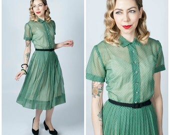Vintage 1950's Green and White Polka Dot Semi Sheer Dress/ 50's Dot Print Button Front Dress Size Medium