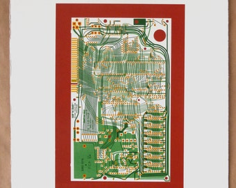 Sinclair ZX Spectrum Issue One screen print yellow, greens and red art silkscreen circuit portrait retro computing