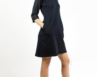 Black Snowdrop dress / Kimono style herringbone fleece dress - V neck cozy dress / Fall winter fashion / Sweater Dress