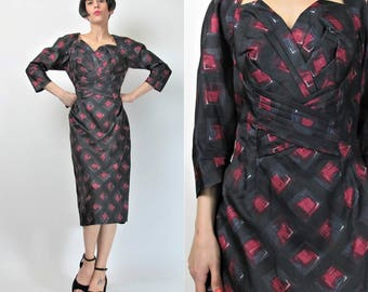 Vintage 1950s Dress Black and Red Diamond Print Pleated Bust Dress Fitted Wiggle Dress Cut Out Neck Short Sleeve Dress Bombshell (S) E4048