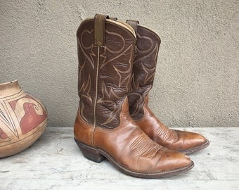 1960s Nocona Made in USA soft brown leather cowboy boot Women's size 7.5 B (fits up to 8), brown cowgirl boot, Western boot, festival boot
