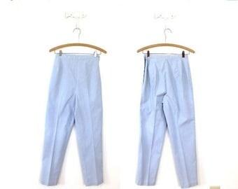 ON SALE 1960s Cigarette Pants / 60s 50s Blue Bell High Waisted Light Blue Cigarette Pants