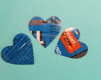 3 Maxwell House coffee blue metal hearts for mixed media, altered art, collage, steampunk, jewelry, assemblage