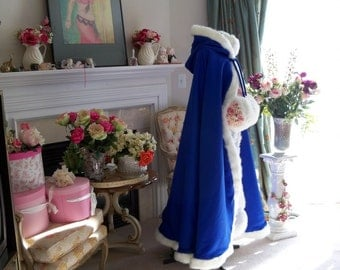 Beauty And The Beast Bridal Cape 52-inch Royal-Blue / White Satin Wedding Cloak Reversible Hooded with Fur Trim Handmade in USA