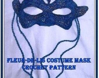 Fleur de lis Mardi Gras Mask Crochet Pattern PDF - INSTANT DOWNLOAD.