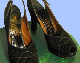 Vintage Black suede Sling Pump Heels SZ 5.5