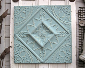 Tin ceiling tile, Antique architectural salvage, Turquoise aqua wall decor, Framed pressed tin tile panel, tenth 10th anniversary