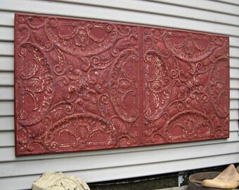 Antique Architectural Wall Art, 4' x 2' LARGE Tin ceiling tile panel, Red industrial metal wall decor, Large wall art