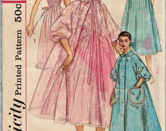 Simplicity 1850 / Vintage 50s Sewing Pattern / Size 18 Bust 38 / Gown Nightgown Negligee Peignoir Robe Lingerie