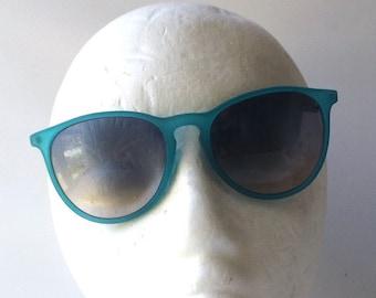 vintage 90s deadstock clubmaster sunglasses matte plastic aqua turquoise blue frame silver metal sun glasses men women unisex eyewear round
