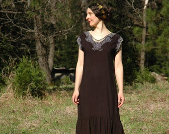 Size Medium... Vintage 1980s Does 1920s Meshwork Crochet Butterfly Maxi Dress... Sweet Rayon Summer Dress
