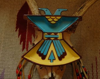Vintage 1950s Thunderbird Ashtray... Southwest Native American Design