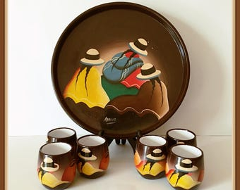 Andean Women Serving Tray, 6 Cups, Peru, Signed Adalid, Folk Art, Hand Painted, Vintage 1980's