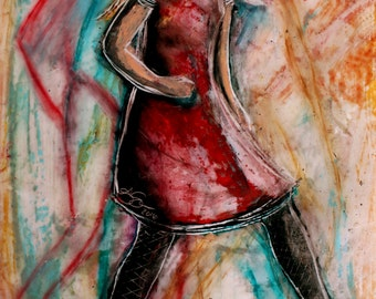 LONG-LEGGED LADY 1 original encaustic painting
