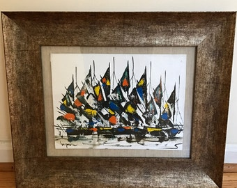 1960s Framed Abstract Midcentury Modern Colorful Sailboats in Harbor Signed Original Oil on Canvas Expressive Brushwork Bright Palette