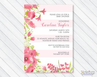 Pink Floral Baby Shower Invitation, Watercolor Pink Flower Baby Shower Invites, Spring Baby Girl Shower - PRINTABLE