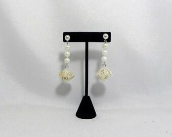 Pearl percentile dice earrings