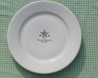Vintage Eastern Star Restaurant Ware Dinner Plate, Valley Center, Kansas O.E.S. No. 237