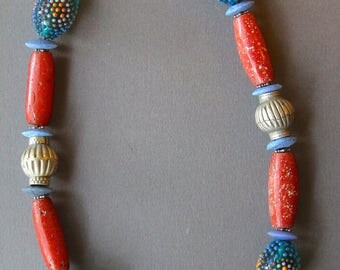 Antique African Coral Glass Necklace w Vintage Venetian Bumpy Glass Beads Orange and Blue Colorful Ethnic Jewelry