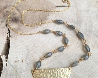 Labradorite with Gold Semicircle Pendant Necklace