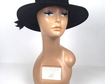Vintage 1970s Black Wide Brim Hat