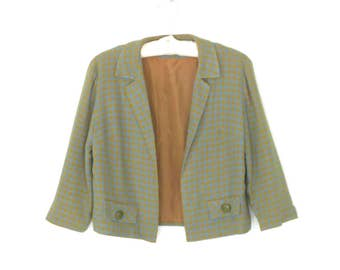 60s Suit Jacket * 1960s Check Blazer * Vintage Boxy Jacket * Medium