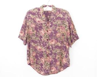 Floral Blouse * Vintage 90s Shirt * Rayon Gauze Blouse * Flower Print * S / M
