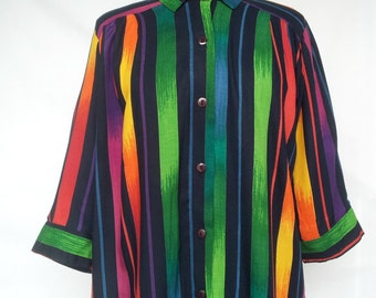 Vintage 1980s, 1990s Blouse, Shirt, Tunic, Bright Stripes, Rayon, A Personal Touch, Plus Size, 3X