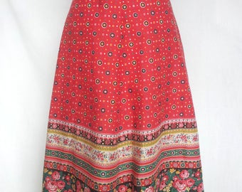 1970s Skirt, A-Line, Red Peasant Border Prints, Khoka Cambridge, Medium