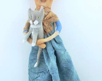 Cat Lady painted cloth folk art doll with cat primitive style original #2