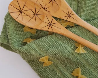 Wood Spoons, Set of 2, Starburst, Star, Wand, Woodburning Spoon