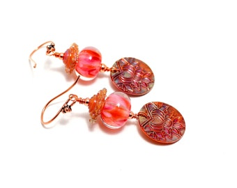 Coral Lampwork Bead Earrings. Lotus Blossom Earrings. Copper Metal Clay Charms. Boho Earrings. Gift Ideas. Glass Bead Jewelry.
