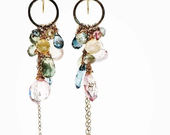Chandelier Earrings with Exquisite Cascade of Semi Precious Gemstones