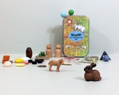 Activity box of tiny toys for kids imagination play, quiet play, and travel. Busy box. Easter gift for kids.