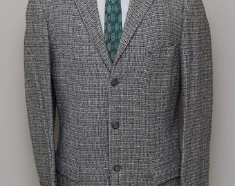 1950s men's grey and black check tweed blazer/ 50s men's check blazer/ Fintex