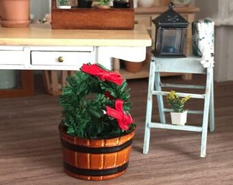 Miniature Planter Tub, Wood Look, Dollhouse Miniature, 1:12 Scale, Dollhouse Accessory, Miniature Garden, Fairy Garden Accessory, Crafting