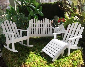 Miniatur Adirondack Möbel Set, Weiß 5 Pc, Puppenhaus Miniaturmöbel, 01:12  Maßstab