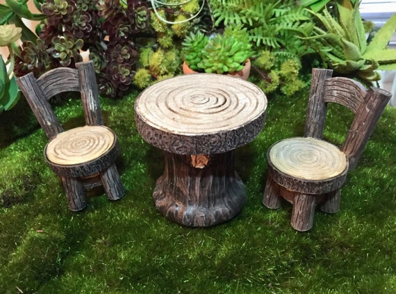 Mini Wood Look Table and Chair Set, 3 Pieces, Tree Stump Furniture, Fairy Garden Accessory, Yard, Home and Garden Decor, Topper