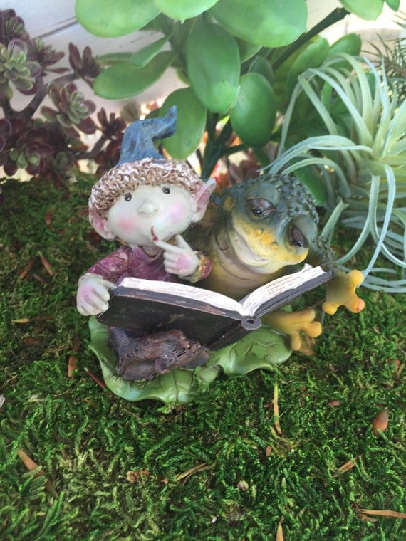 Mini Pixie Figurine, Young Fairy Garden Pixie Reading a Book With Frog, Fairy Garden Accessory, Home and Garden Decor, Miniature Garden Deco