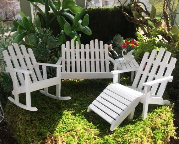 Miniature Adirondack Furniture Set, White 5 Pc Set, Dollhouse Miniature Furniture, 1:12 Scale, Miniature Wood Garden Furniture