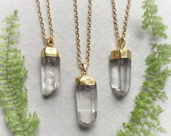 Crystal Quartz Point gemstone necklace, polished electroplated quartz, gold tone, bohemian, genuine crystal