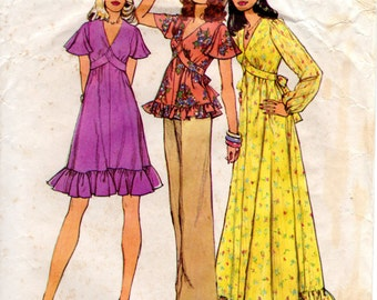 1970s Empire Waist Dress or Top with Ruffles Flutter Sleeves - Vintage Pattern Simplicity 6600 - Bust 32 1/2