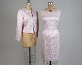 1960s lurex brocade dress and jacket • vintage 60s dress • sleeveless cocktail dress
